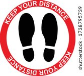 keep your distance floor shoe... | Shutterstock .eps vector #1738795739