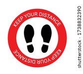 vector of footprint sign red... | Shutterstock .eps vector #1738832390