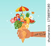 summer creative concept with... | Shutterstock .eps vector #1738859180