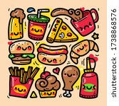 doodle collection set of food... | Shutterstock .eps vector #1738868576