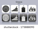Landmarks Of Greece. Set Of...