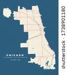 Chicago Map Road Poster Flyer...