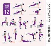 home workout set. set of sport... | Shutterstock .eps vector #1738917320