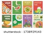 set of vegan food colourful... | Shutterstock .eps vector #1738929143