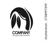 eco leaf vector logo monogram.... | Shutterstock .eps vector #1738997399