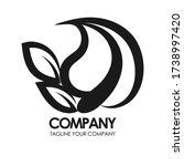 eco leaf vector logo monogram.... | Shutterstock .eps vector #1738997420