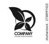 eco leaf vector logo monogram.... | Shutterstock .eps vector #1738997423