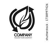 eco leaf vector logo monogram.... | Shutterstock .eps vector #1738997426