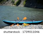Kayak for rafting on a mountain river, an active sport. Tourism and extreme recreation. - stock photo