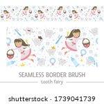 cute tooth fairy seamless... | Shutterstock .eps vector #1739041739