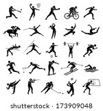 beautiful silhouette sport icon ... | Shutterstock .eps vector #173909048