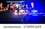 Night Police Car Lights In City ...