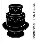 cake silhouette. two tier cake... | Shutterstock .eps vector #1739113256