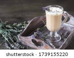 Lavender Coffee latte with homemade syrup. Violet or Lavender Raf  . Soft focus. lavender raf. Place for text. Copy Space