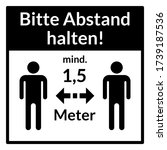 "bitte abstand halten  ""please... | Shutterstock .eps vector #1739187536"