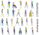 handicapped icons set. cartoon... | Shutterstock .eps vector #1739256950