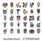 ice cream menu color outline... | Shutterstock .eps vector #1739309660