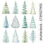 set of stylized fir trees on... | Shutterstock .eps vector #1739327903