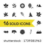 ecology icons set with fir tree ...