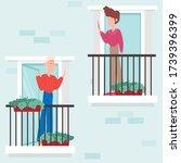 neighborhood  stay at home... | Shutterstock .eps vector #1739396399