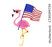 flamingo with waving usa flag   ... | Shutterstock .eps vector #1739399759