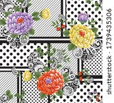 patchwork flower pattern on dot