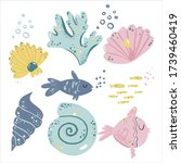 Set With Cute Sea Fish And...