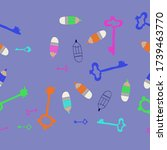 horizontal arrangement keys and ... | Shutterstock . vector #1739463770