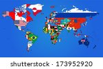 world flag map with a blue... | Shutterstock .eps vector #173952920