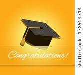 graduation cap on a yellow... | Shutterstock . vector #173954714