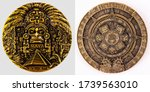 Small photo of Maya Gold Plated Coin MEXICO Mayan Prophecy Ancient Calendar Souvenir Coin VINTAGE. Collection.