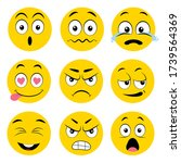 set of yellow different emotion ... | Shutterstock .eps vector #1739564369