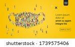 people crowd gathering in...   Shutterstock .eps vector #1739575406