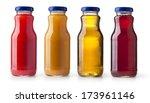 different bottles of juice on...   Shutterstock . vector #173961146