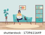 young asian woman working from... | Shutterstock .eps vector #1739611649