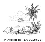 sketch of a tropical beach with ... | Shutterstock .eps vector #1739625833