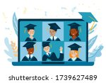 teleconference in laptop. class ... | Shutterstock .eps vector #1739627489