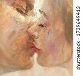 Kiss. Lovers. Abstract Oil...