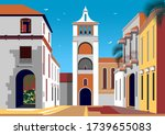 Colonial spanish style street with historic buildings and a church with a bell tower in the background. Handmade drawing vector illustration. Retro style poster.