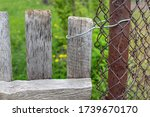 Old Wooden Gate Closed With A...