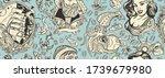 sea adventure vintage seamless... | Shutterstock .eps vector #1739679980