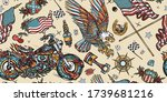 bikers pattern. bearded biker... | Shutterstock .eps vector #1739681216