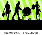 women with shopping bags and... | Shutterstock .eps vector #173968790
