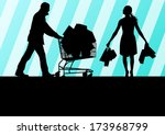 women with shopping bags and... | Shutterstock .eps vector #173968799