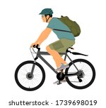 male bicyclist riding a bicycle ... | Shutterstock .eps vector #1739698019