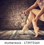 legs and wooden floor  | Shutterstock . vector #173973164