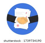 partnership. document papers.... | Shutterstock .eps vector #1739734190
