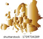 Gold Europe map vector illustration isolated on white background. Continent Europe with borders separated countries. Strong and powerful economy symbol.