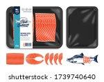 vector pink salmon packaging...   Shutterstock .eps vector #1739740640