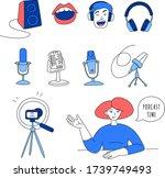 radio host flat vector... | Shutterstock .eps vector #1739749493